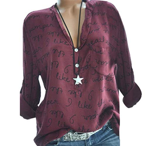 Clearance! Seaintheson Women Blouse Women Long Sleeve Letter Shirt Plus Size V-Neck Button Pullover Casual Tops Blouse - Quilted Corset