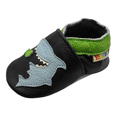 Yalion Baby Soft Leather Shoes with Suede Sole Anti-Slip Infant Toddler First Walking Crib Moccasins Cartoon Shark(Black,0-6 Months)