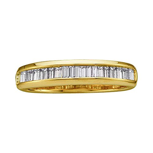 Sonia Jewels Size 7-14k Yellow Gold Baguette Diamond Band Wedding Anniversary Ring (1/2 Cttw)