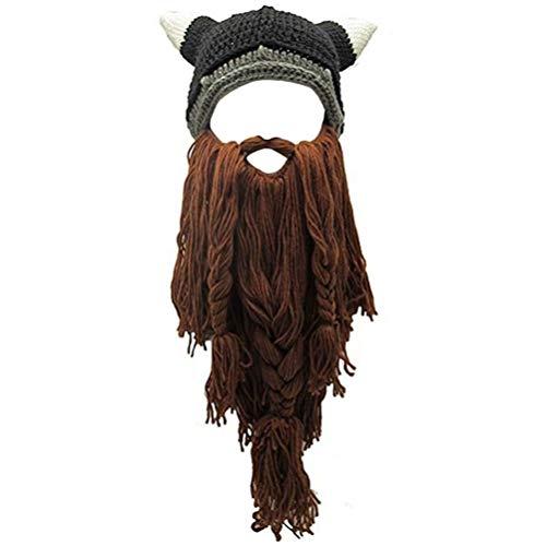 Creative Original Barbarian Knit Hair Beard Hat and Roman Knight Helmet Visor Cosplay Knit Beanie Hat (V-Brown) -