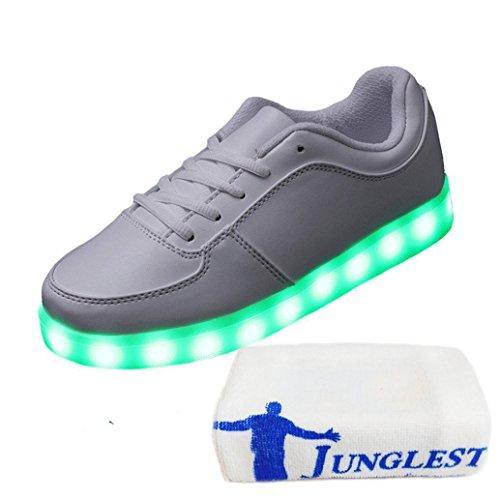 [Present:kleines Handtuch]JUNGLEST® Unisex Damen Herren USB-Lade LED leuchten Sportschuhe Blink Luminous Fashion Sneakers für Hi Weiß
