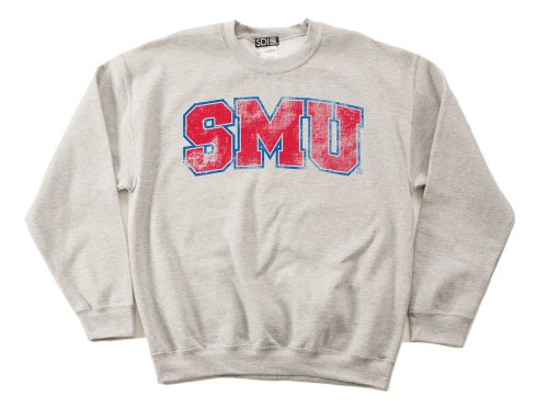 NCAA SMU Mustangs 50/50 Blended 8-Ounce Vintage Arch Crewneck Sweatshirt, Medium, Sport Grey
