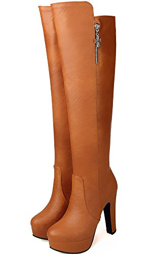 BIGTREE BIGTREE BIGTREE Piattaforma Inverno Stivali Casual Calda Autunno alto Stivali del Marrone Tacco Pelle Di Lunghi ginocchio PU alti Donna rwrqg