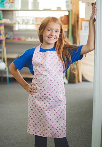 Handmade Cherry Pink Tween Girl Apron Gift for Art Kitchen Crafts from Sara Sews, Inc.