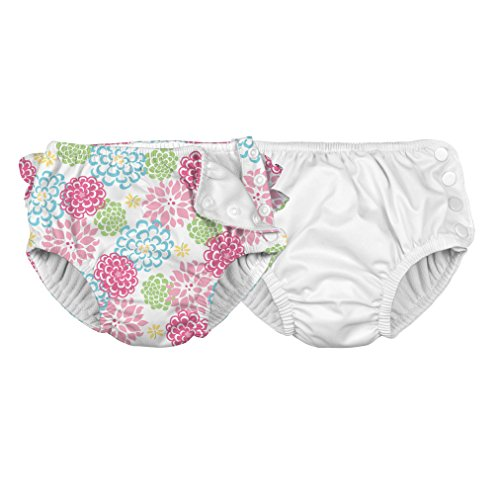 i play. Toddler Reusable Swim Diaper, White Zinnia, 3T Pack