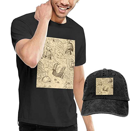 Men's Short Tee Ancient Map Crew Neck T-Shirts and Baseball Cap Cotton Sleeve Shirts with Cowboy Peaked Hat
