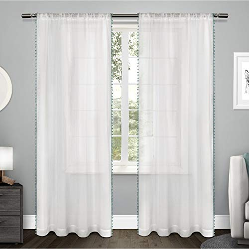 Exclusive Home Curtains Pom Applique Bordered Textured Sheer Window Curtain Panel Pair with Rod Pocket, 54x84, Teal, 2 Piece
