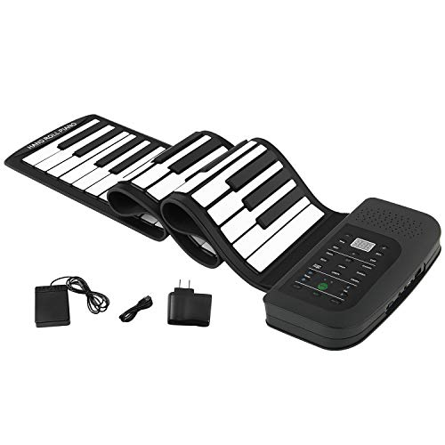 Roll Up Piano Electronic MIDI Out Portable Keyboard Piano Standard 88 Keys Digital Educational Music Keyboard Piano With Pedal and Build-in Speaker for Beginner (88 Key Keyboard)