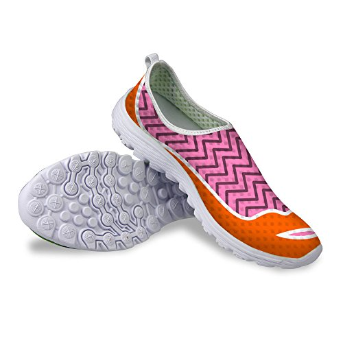 Pink DESIGNS U Stylish Womens Print Lip Slip Running on Sexy Mesh FOR Shoes 7dTw5Hq7