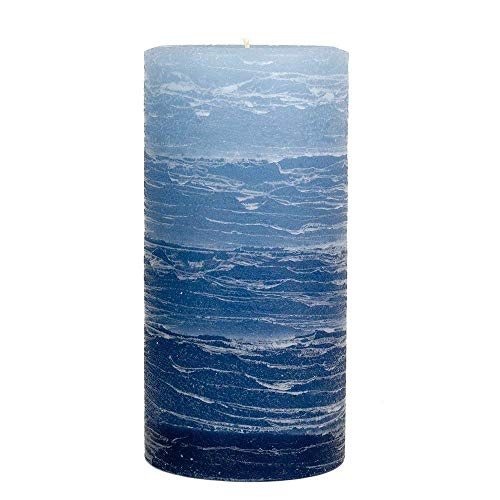 "Nordic Candle - Layered Pillar Candle - 3x6"" Blue Layered- Unscented"