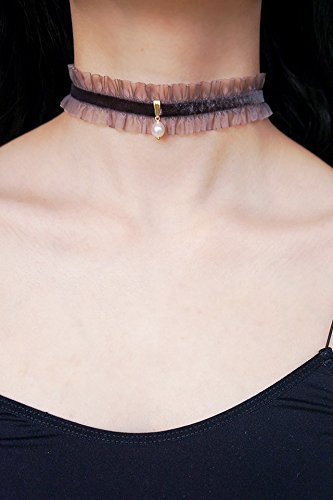 Generic Korean star with gold velvet vintage lace freshwater pearl necklace clavicle chain gift temperament neckband