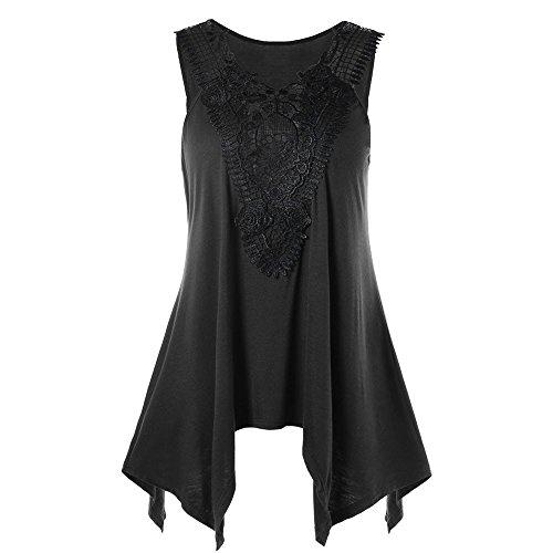 Womens Sleeveless Irregular T-Shirt Plus Size Tops V Neck Lace Trim ()