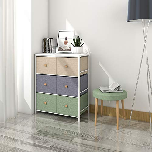 Lifewit Small Storage Drawer Unit with Metal Frame for Children, Small Clothes Organizer with Wooden Tabletop for Livingroom, Bedroom, Cabinet with 6 Easy Pull Fabric Drawers, 3-Tier ()