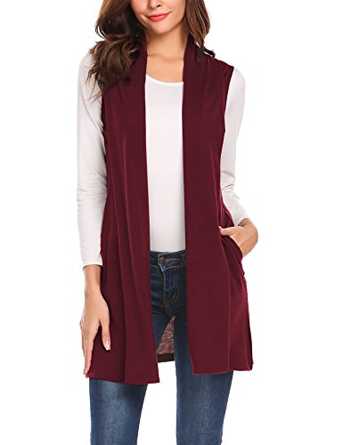 Beyove Women's Sleeveless Cardigan Vest Solid Open Front Long Cardigan Wine Red XXL