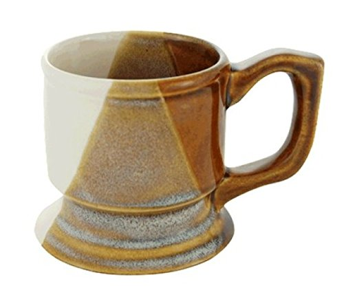 Multi-Brown Ceramic Shaving Mug on Pedestal