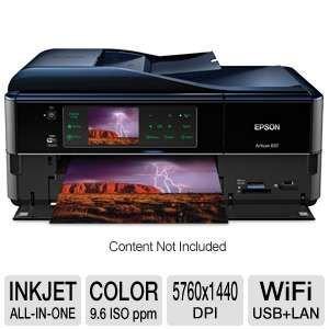 "Epson Artisan 837 USB/Ethernet/Wireless-N Color Inkjet Scanner Copier Fax Photo Printer w/Card Reader & 3.5"" LCD (Black)"