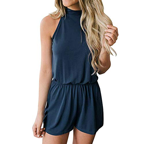 QIQIU Womens New Hollow Out Halterneck Elastic Waist Pocket Solid Casual Playsuit Summer Sleeveless Jumpsuits Blue -