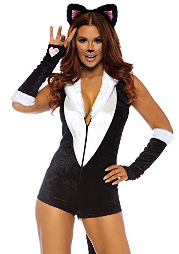 Leg Avenue Women's Sexy Frisky Kitty Cat Costume, Black/White, -