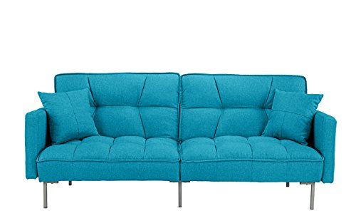 - DIVANO ROMA FURNITURE Collection - Modern Plush Tufted Linen Fabric Splitback Living Room Sleeper Futon (Light Blue)