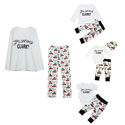 Kehen Family Matching Christmas Pajamas Sleepwear Letter Printed Long Sleeve Tops Xmas Tree and Car Pjs Pant Set Adult Large(Women)/Small(Men) White