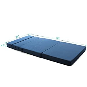 Milliard Tri-Fold Foam Folding Mattress and Sofa Bed for Guests or Floor Mat - Twin XL 78x38x4½ Inch