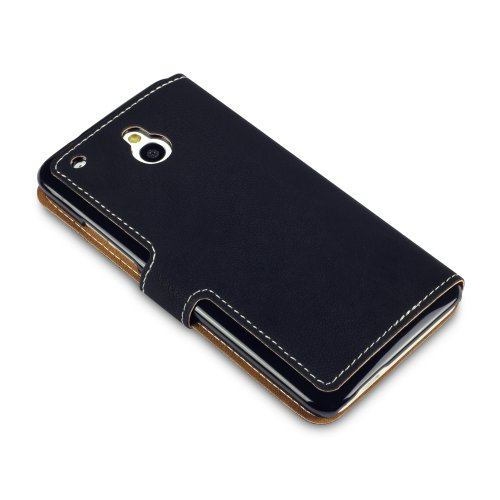 HTC One Mini Low Profile Covert Branded Faux Leather Wallet Case (Black)