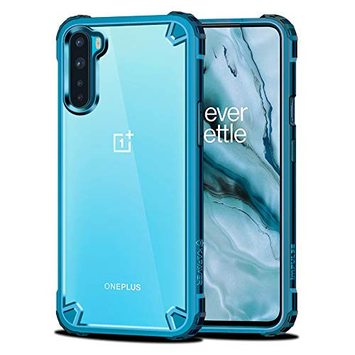 KAPAVER® Impulse Transparent Hybrid Hard PC Back TPU Bumper Impact Resistant Protection Back Cover Case for OnePlus Nord/One Plus Nord (Sea Blue)
