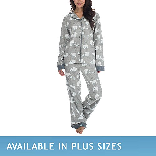 Munki Munki Women's Classic Flannel Set, Polar Bear