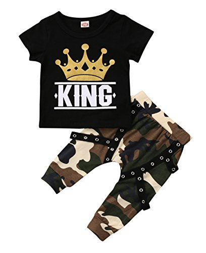 Ma&Baby Toddler Baby Boy Clothes King Short Sleeve Black T-Shirt +Camo Pants Outfits Tops Set (12-18 Months)