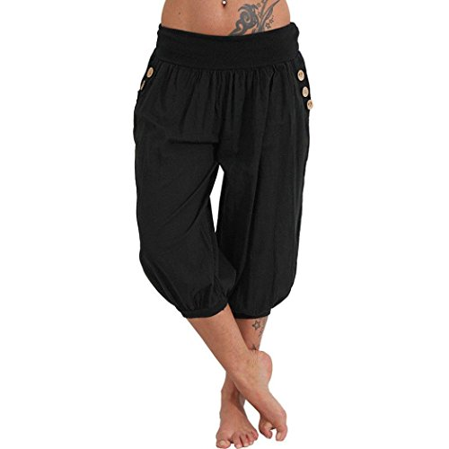 vermers Clearance Women Trousers Women Elastic Waist Boho Check Pants Baggy Wide Leg Summer Casual Yoga Capris(XL, Black) ()