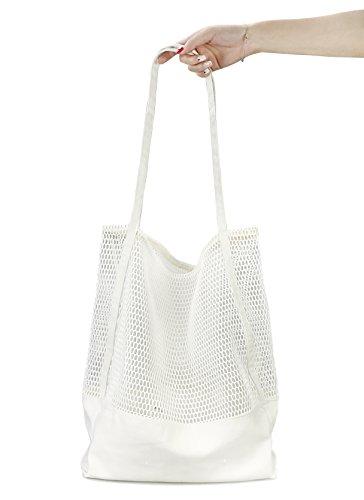 Mesh Beach Canvas Tote Womens Shoulder Handbag (White) ()