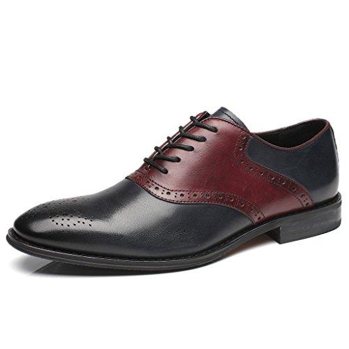 Two Tone Oxford Saddle Shoe (La Milano Mens Leather Saddle Style Two Tone Fashion Oxford Dress Shoes)