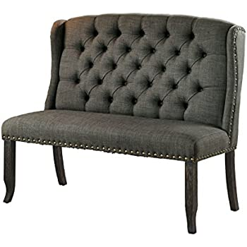 HOMES: Inside + Out IDF-3324BK-GY-BN Noemi 2 Bench Transitional 2 Loveseat, 2-Seater, Dark Gray