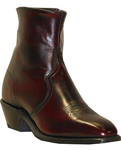 Abilene Mens 7 Western Zip Stivali In Ciliegio Nero