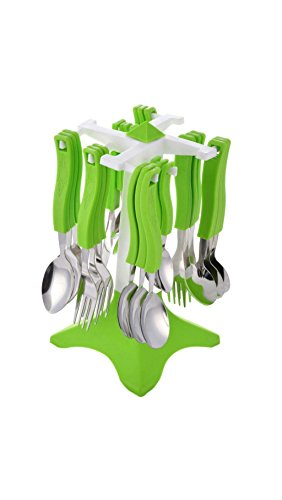 Ganesh Swastik Stainless Steel Cuttlery Set, 26-Pieces, Green.
