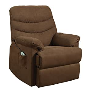 Homelegance Elevated 9769BR-1LT Power Lift and Recline Chair, Chocolate Brown Microfiber