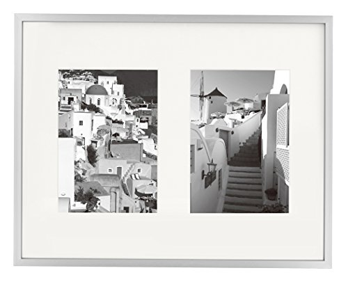 Golden State Art 11x14 Silver Aluminum Metal Frame with Ivory Mat - Displays Two 5x7 Photos - Real Glass, Sawtooth Hangers, Swivel Tabs - Wall Mounting, Landscape, Portrait