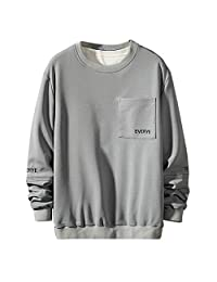Minikoad_Men Coat Men Plus Size T-Shirt Blouse Tops, Male Solid Long Sleeve Tunic Tops with Pocket Sweatshirt