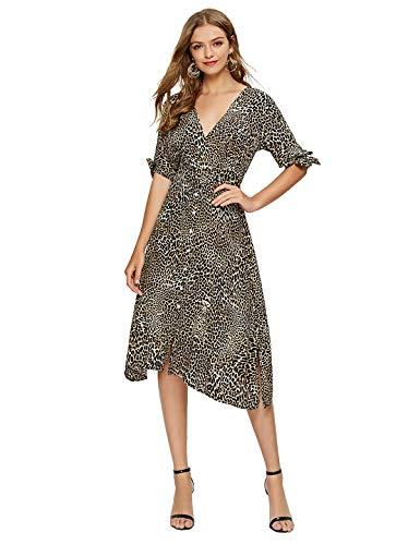Escalier Women's Wrap Dress Summer Party Midi Dresses with Belt Leopard Plus 2X ()