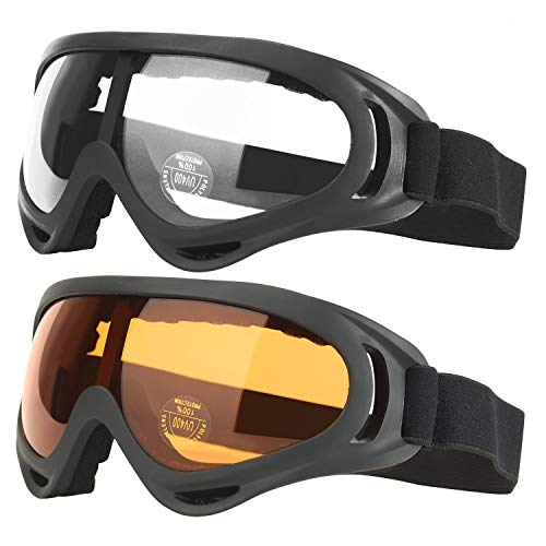 COOLOO Ski Goggles, Pack of 2, Snowboard Goggles for Kids, B