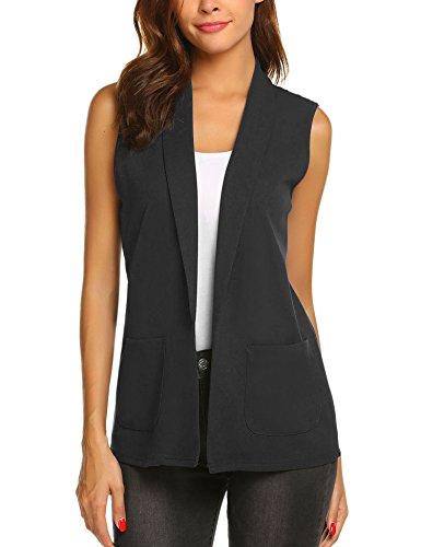 Dealwell Women Sleeveless Shawl Draped Blazer Open Front Pocket Cardigan Vest Top (Black, -