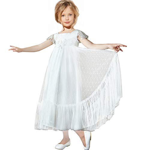 - CQDY Flower Girl A Line Pageant Wedding Lace Party Dress Flutter Sleeves White Bridesmaid Dress (Off-White, 2-3y)