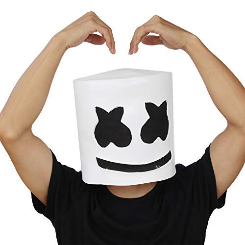 PartyCostume - DJ Marshmello Mask - Halloween Party Cosplay Props Latex Head -