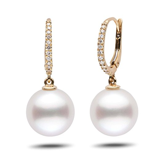Eternal Collection White South Sea 12.0-13.0 mm Cultured Pearl & Diamond Dangle Earrings 14K Yellow Gold - Diamonds 13mm South Sea Pearl