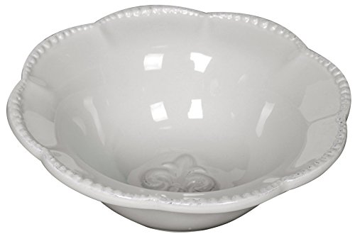 Ceramic Fleur-de-Lis Soup Cereal Bowl White 6.5