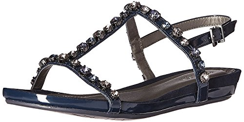 Kenneth Cole REACTION Women's Lost Catch Flat Open Toe Gemstone Accents-Patent Gladiator Sandal, Navy, 10 M (Patent Leather Peep Toe Sandals)