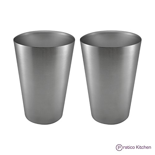 Pratico Kitchen Smooth Edge Stainless Steel Cups - Multi-purpose 16 oz Pint Glasses - 2 Pack