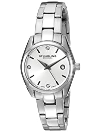 Stuhrling Original Women's 414L.01 Classic Ascot Stainless Steel Bracelet Watch with White Dial and Swarovski Crystals