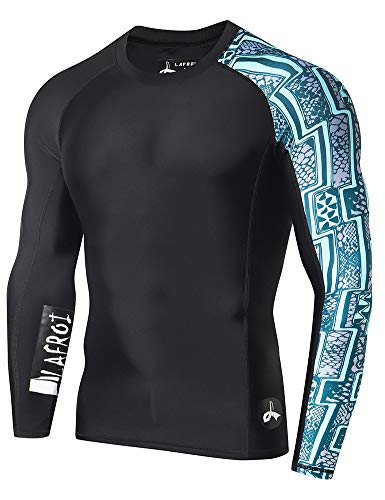 (LAFROI Men's Long Sleeve UPF 50+ Baselayer Skins Performance Fit Compression Rash)