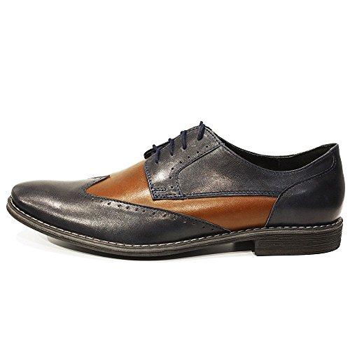 Modello Fundo - Handgemachtes Italienisch Leder Herren Braun Wing Tip Schuhe Abendschuhe Oxfords - Rindsleder Weiches Leder - Schnüren